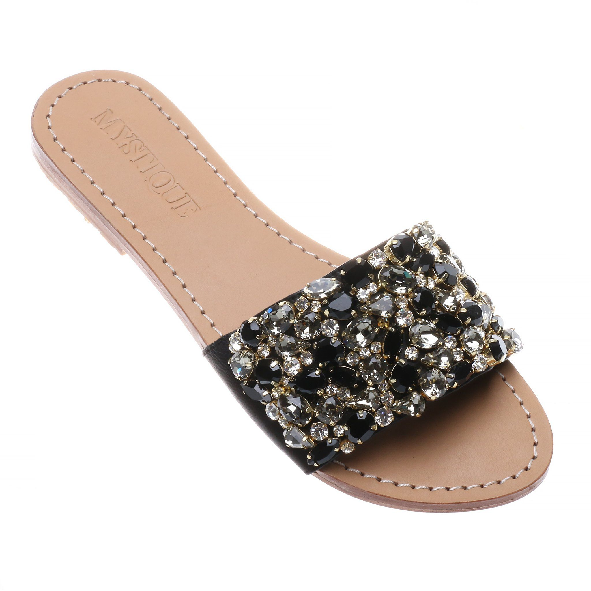 0abea0e57e1791 Cannon - Women s Black Jeweled Slide Sandals