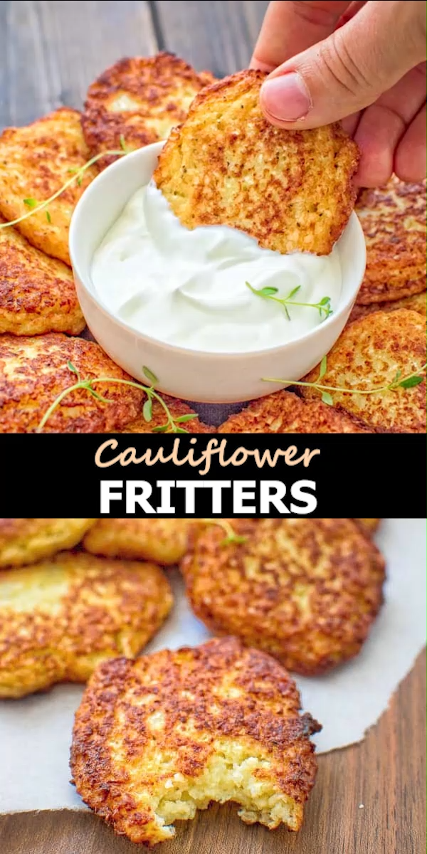 Simple and very tasty, this kid-friendly Basic Cauliflower Fritters recipe is a must-have for everyone. You will not be able to stop at one!  FOLLOW Cooktoria for more deliciousness! #cauliflower #lunch #fritters #vegetarian #cooktoria