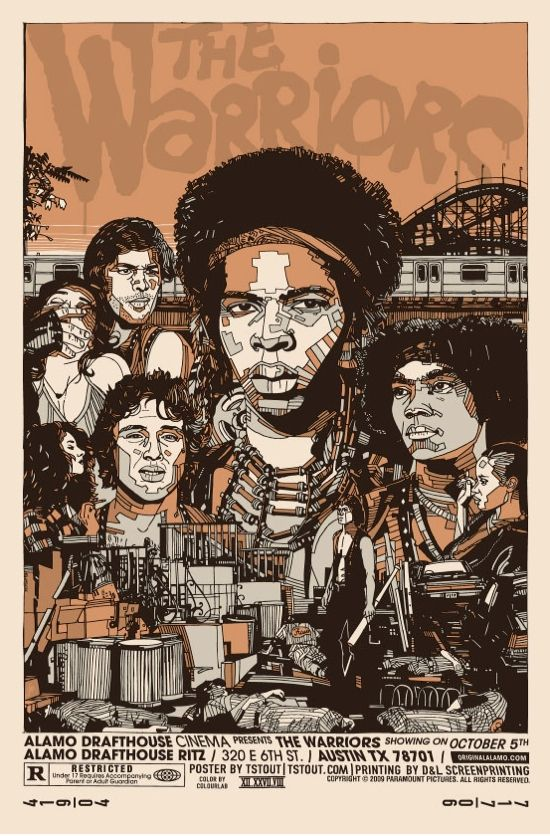"""THE WARRIORS Movie Poster 1979 Cult Film NYC Silk Fabric Movie Poster 24/""""x36/"""""""