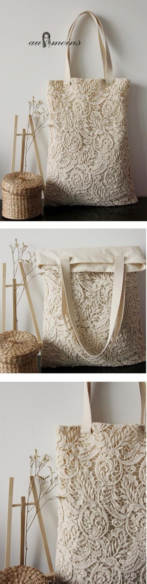This lace tote could be a fantastic DIY idea. Maybe reclaim an old ...