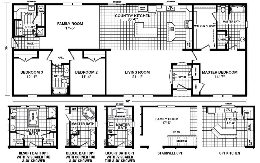 2 266 Sq Ft 3 Beds 2 Baths 54int32763bh Mobile Home Floor Plans Floor Plans Manufactured Homes Floor Plans