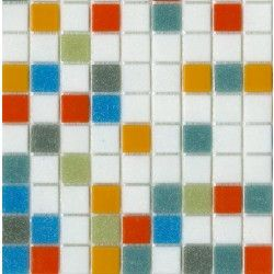 Brio Logo Mosaic Glass Tile Blend In White Green Blue Teal Red