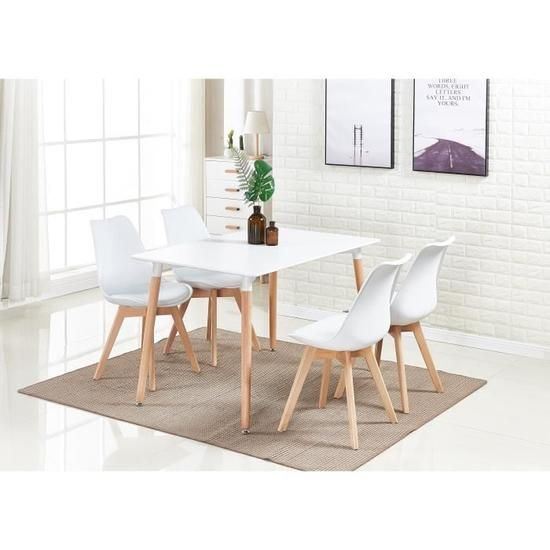 Ensemble Salle A Manger Moderne Lorenzo Table Blanche 4 Chaises Blanches Design Scandinave In 2020 With Images Coffee Table Home Decor Furniture