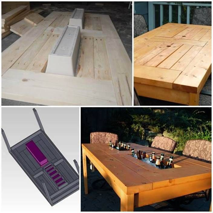 How to Make a Patio Table with Built-in Coolers Step by Step Tutorial #DIY #furniture #patio