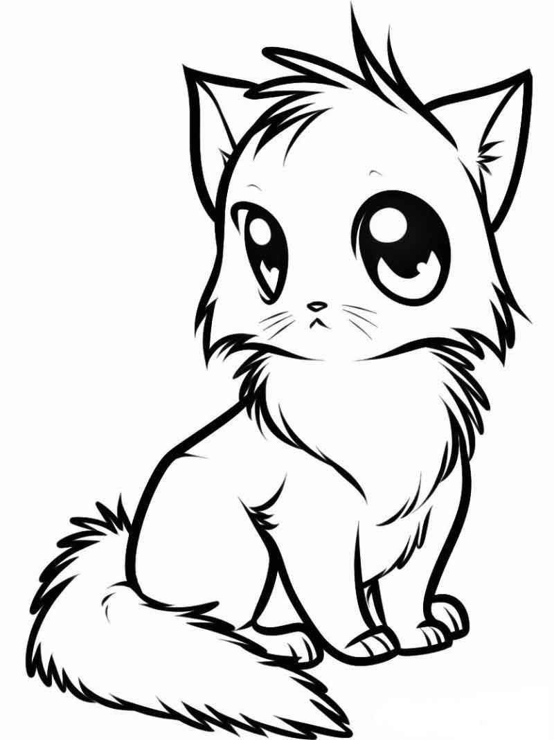 Coloring Pages Of Cute Animals Cute Kitten Coloring Page From Cute Coloring Pages Category In 2020 Animals Drawing Images Animal Drawings Cute Animals Images