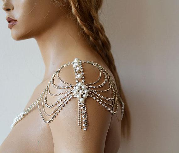Shoulder Necklace For Wedding Dress Pearl Shoulder Jewelry For