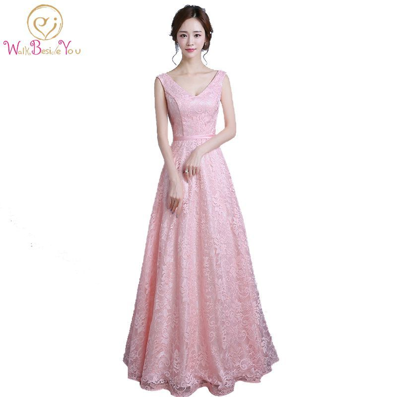 Click to Buy << 100% Real Images Pink Lace Long Elegant Prom Dresses ...