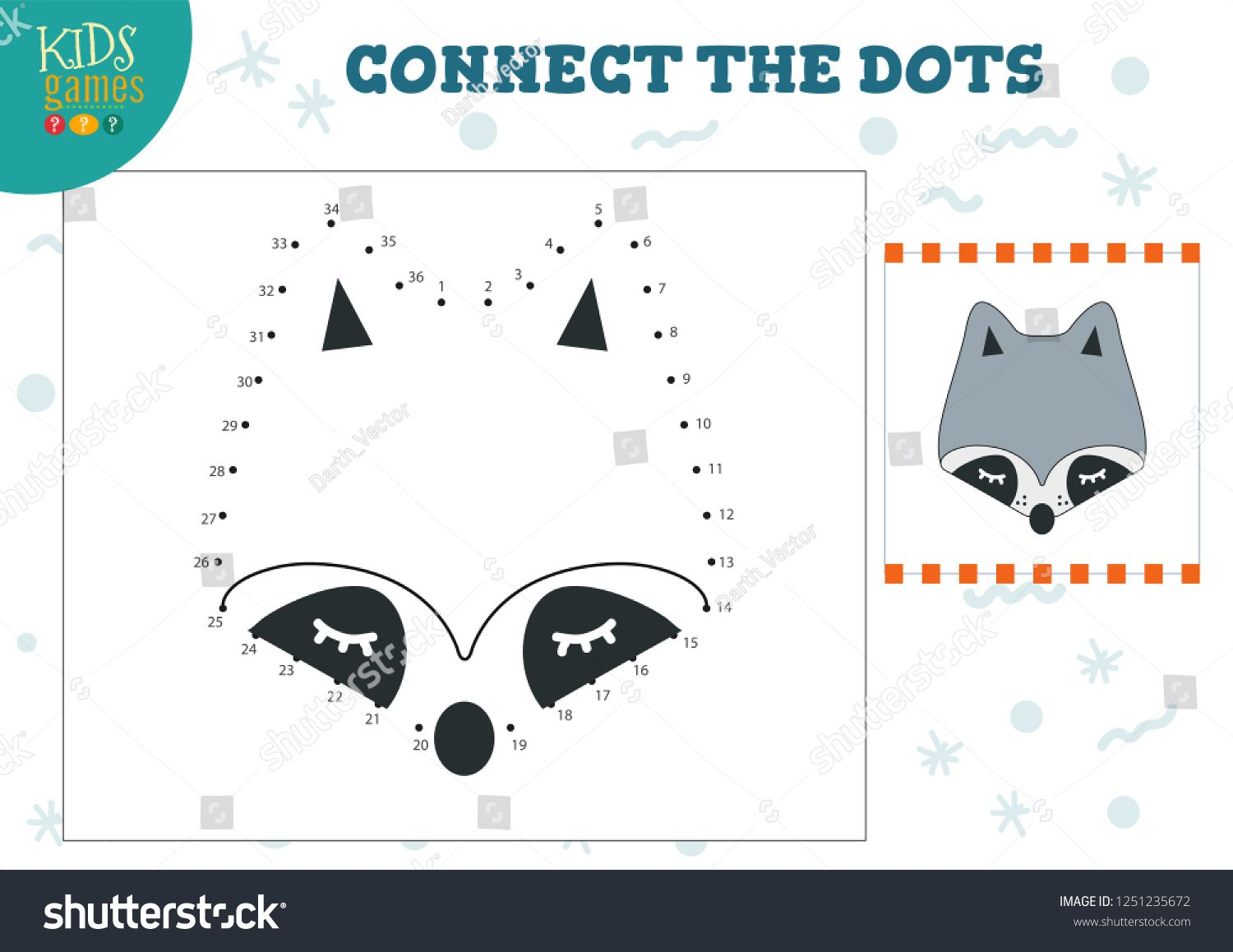 Connect The Dots Kids Game Vector Illustration Preschool