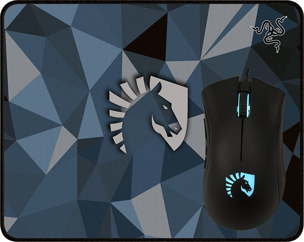 Razer Team Liquid Edition Deathadder Usb Optical Gaming Mouse Mousepad Goliathus Pad Gamers Game Mat Bundle Black Front Zoom