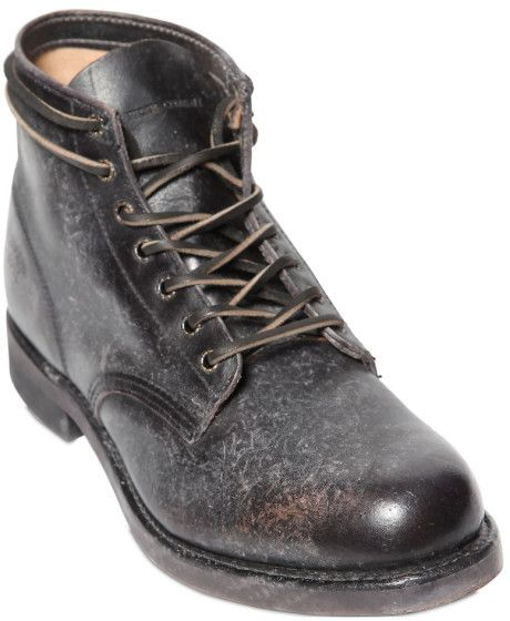 2b26c8990f5 Men's Black Prison Stone Washed Leather Boots | ***MATERIALS ...