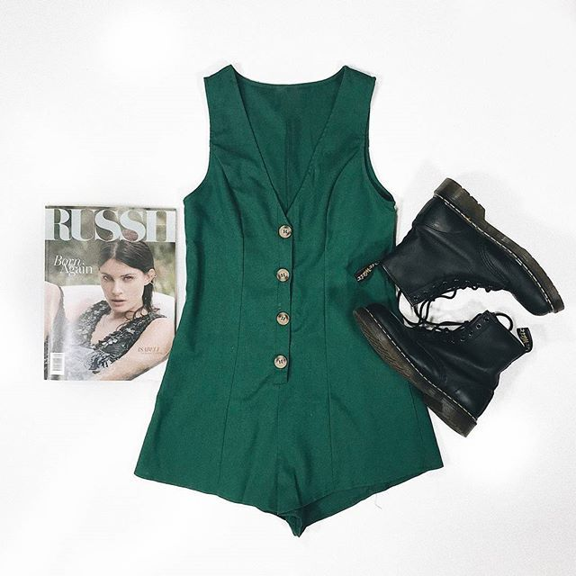 8d7f7979142 THIS COLOUR ◇ Obsessing over our new Cloudstone Romper in Forest Green     Shop it online now with our Dr. Martens 1460 Nappa Boots  PrincessPolly