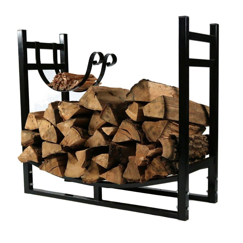 Firewood Log Rack With Kindling Holder 33 Black Sunnydaze Decor Firewood Logs Firewood Holder Kindle Holder