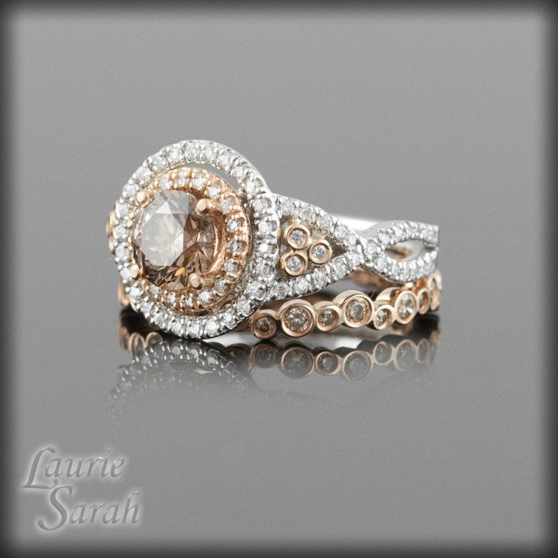 Chocolate Colored Brown Diamond Wedding Ring Set in 14kt Rose and