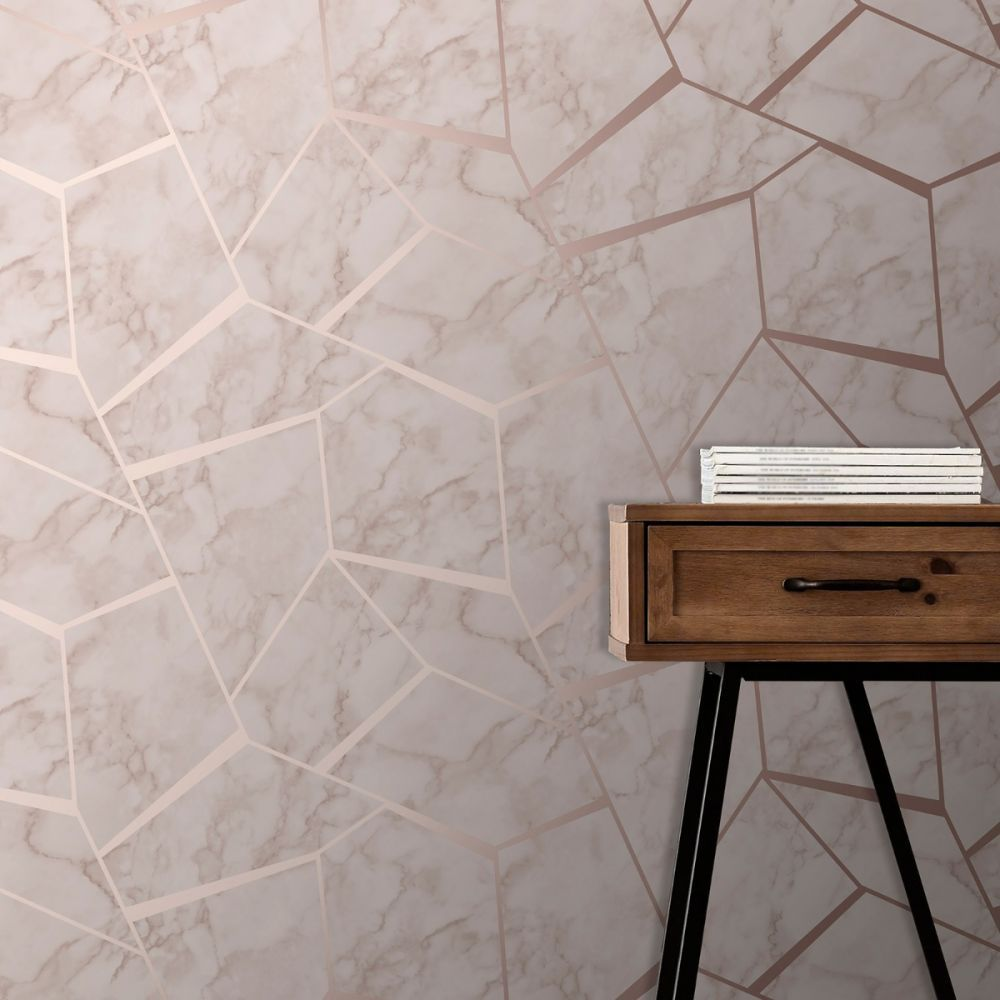 Best Fractal Geometric Marble Wallpaper Rose Gold Fine Decor 400 x 300