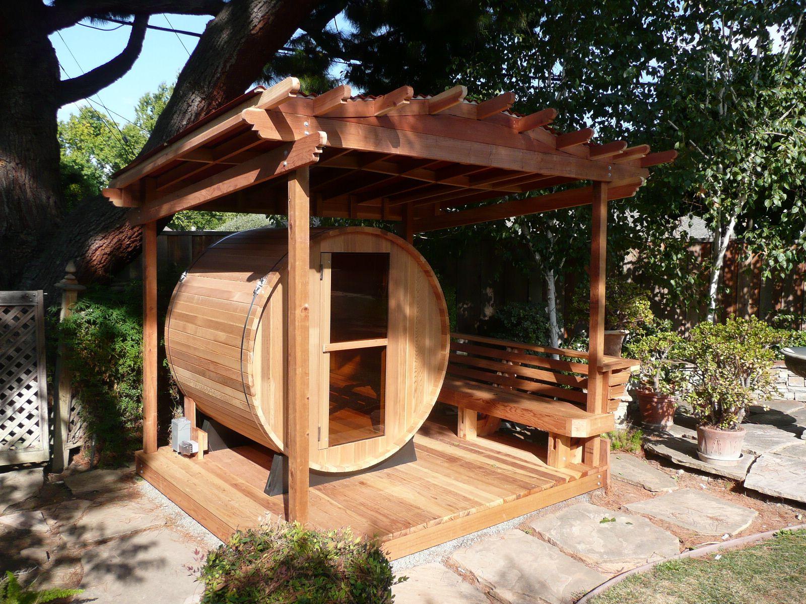 Relaxing Patio Barrel Sauna Hot Tubs Saunas Backyard diy sweat lodge