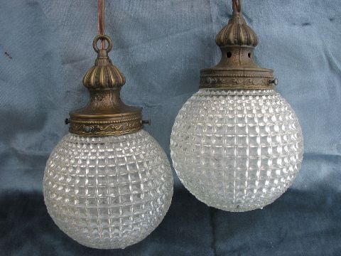 60s Vintage Swag Lamp Hanging Light W Double Pendant