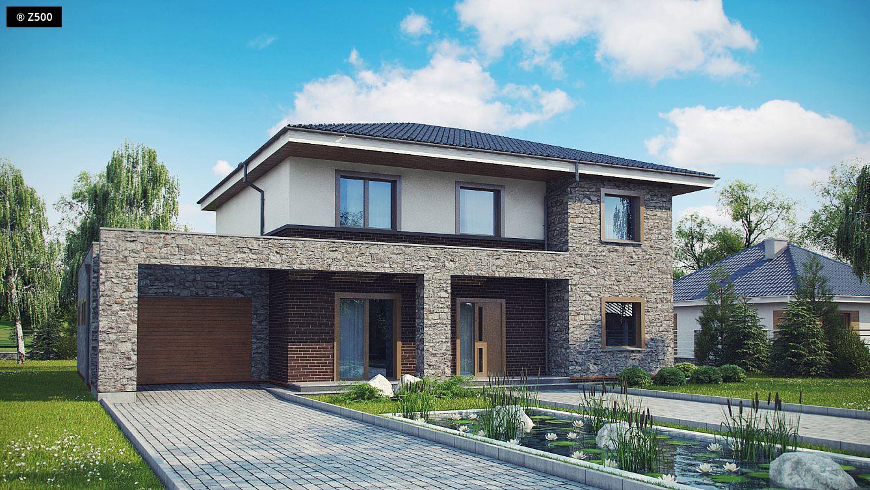 Plano de moderna casa revestida en piedra 3 dormitorios y for Fachadas de casas modernas con piedra de una planta