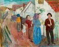 In conversation (Zebegény) tempera on panel 40,5 x 50,5 cm