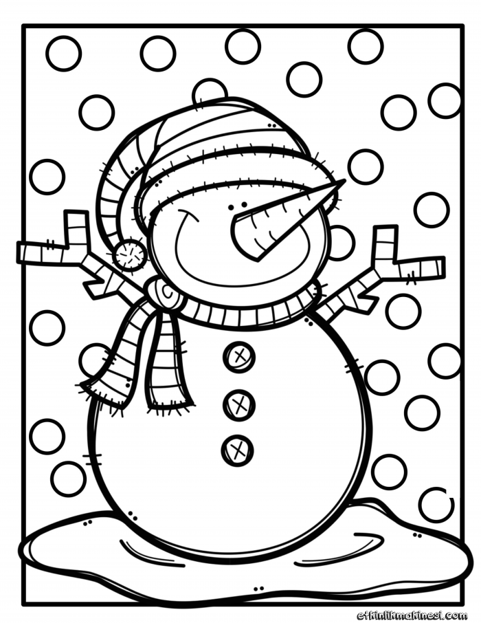 Kış Boyama Sayfaları Yeni Yıl Boyama 2019 Kardan Adam Boyama