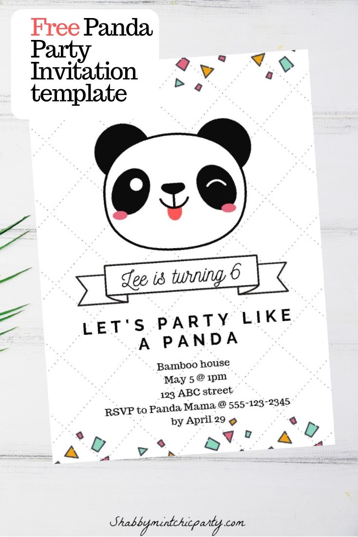 Free Panda Party Invitation Template Video Tutorial Shabby Mint Chic Party Party Invite Template Panda Themed Party Panda Birthday Invitations