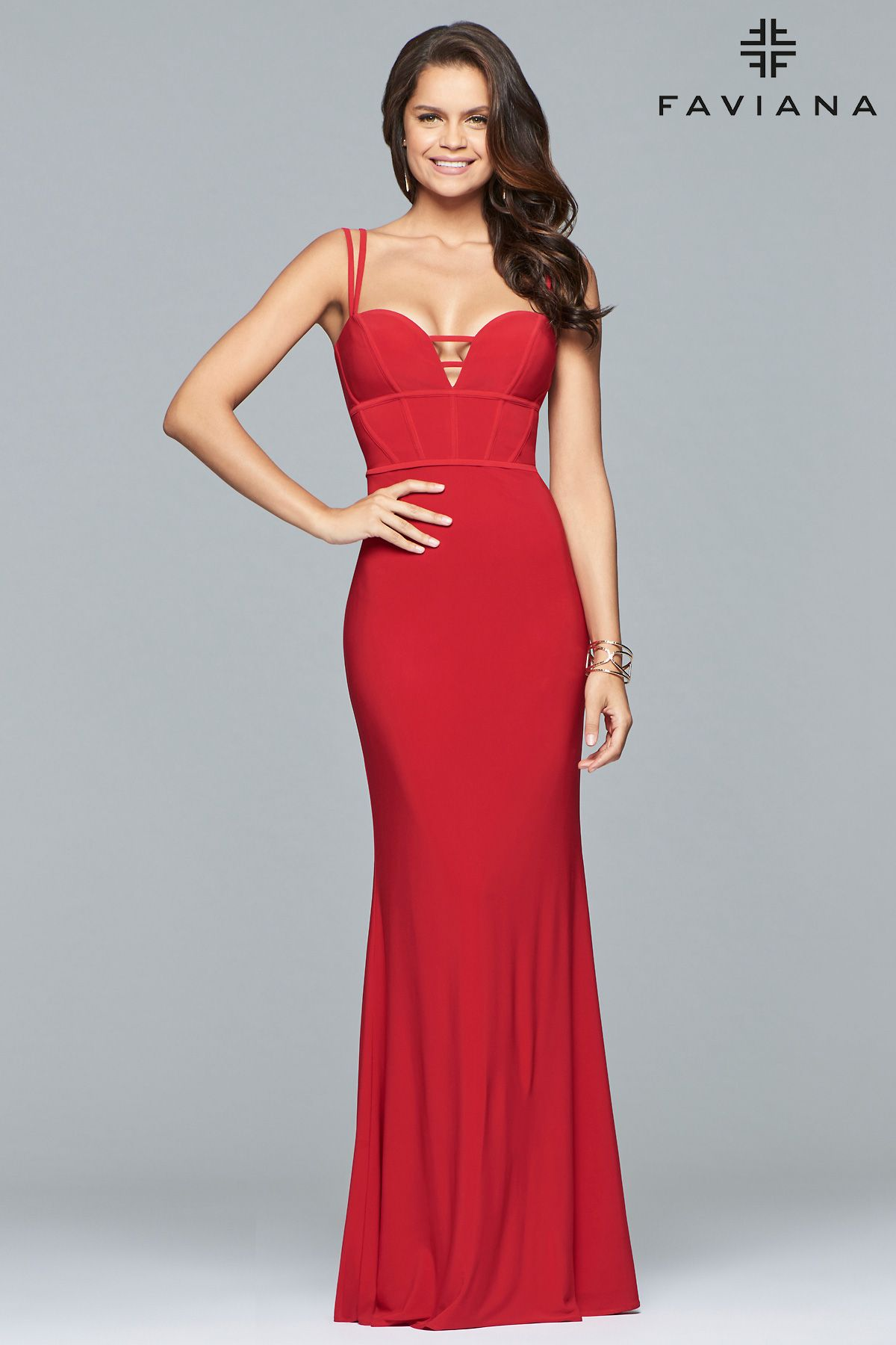 1c7c66ebd59  Faviana style S10016 is delightfully alluring. This vibrant dress features  double straps