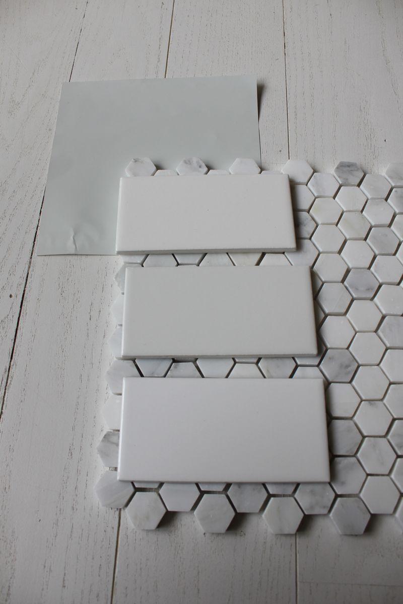 benjamin moore wickham gray with subway tile & hex floor tile - we ...