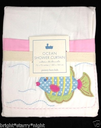 Pottery Barn Kids Ocean Shower Curtain Bath Pink Fish Mermaid