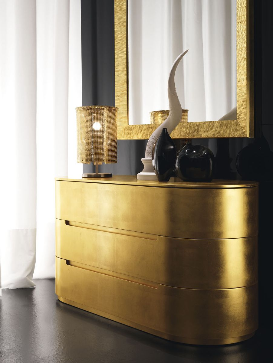 Round gold bedside cabinets rounded chest of drawers presotto