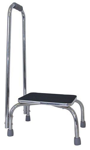 Bedside Step Stools For Adults: Duro-Med Foot Stool With Support Handle, Silver/Black By