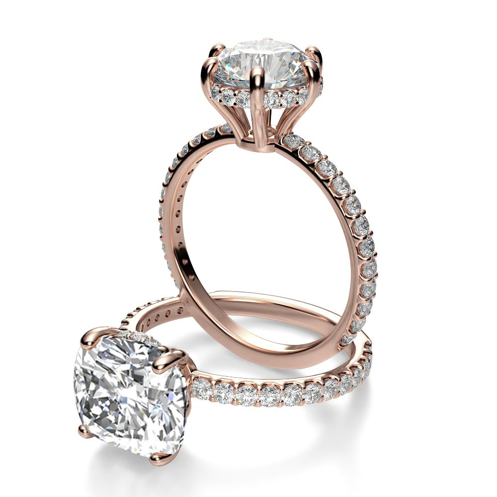 0114e9265197a Under Halo U Prong Pave Diamond Engagement Ring | Rose Gold ...