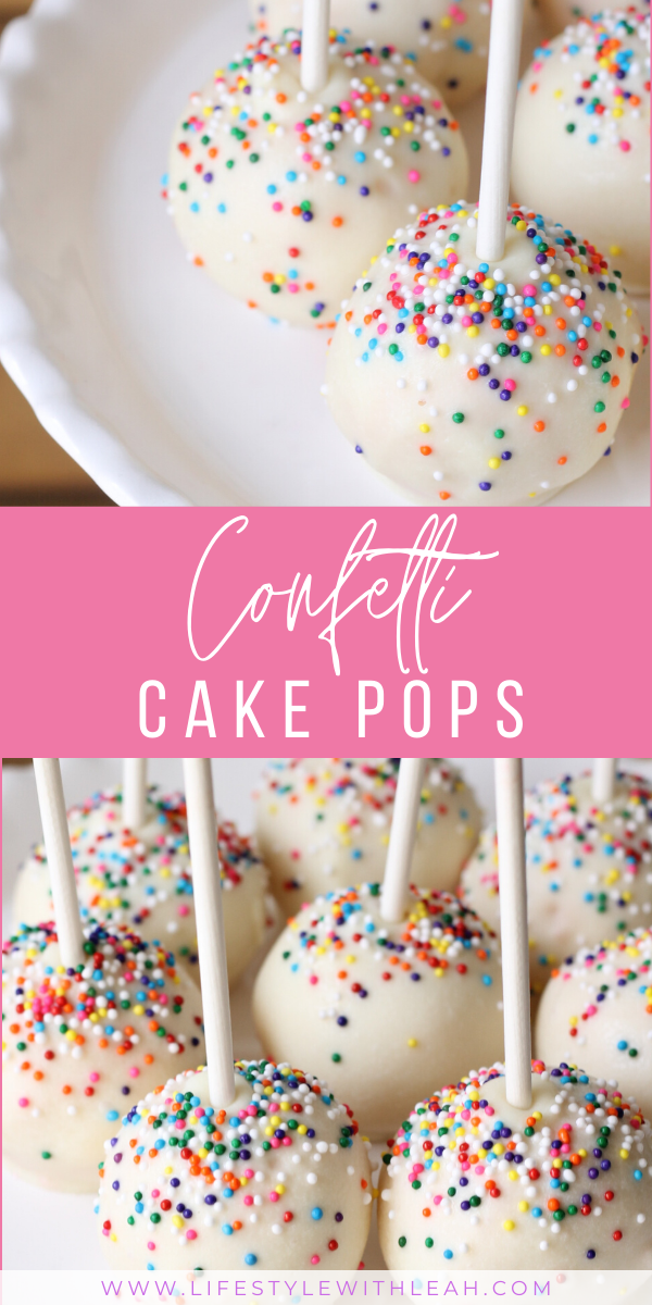 Delicious confetti cake pops. An easy and super cute recipe to make with your ki…
