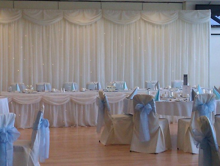 Ivory Chair Covers With Baby Blue Sash
