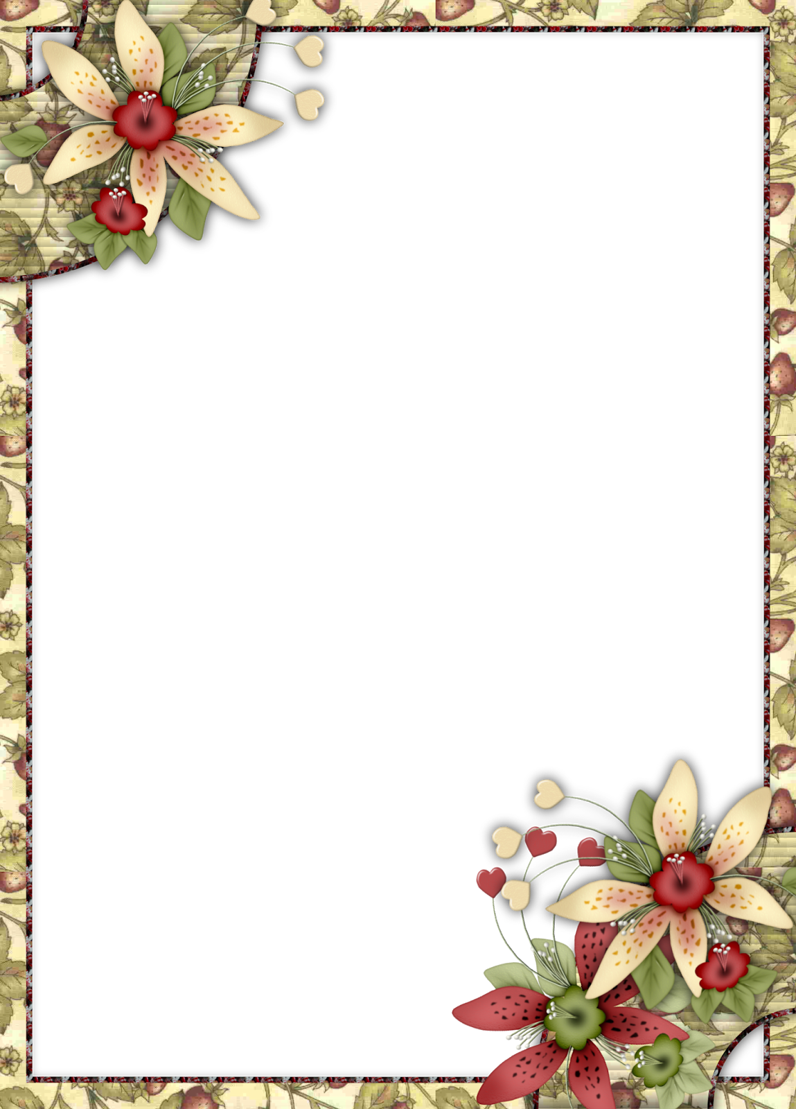 9d1338696d622 Flores Retro  Marcos o Tarjetas para Imprimir Gratis.