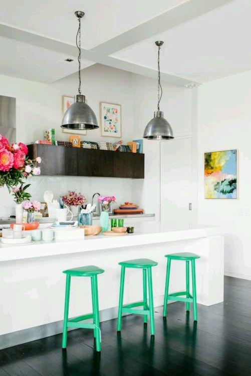 White Kitchen & Green Stools