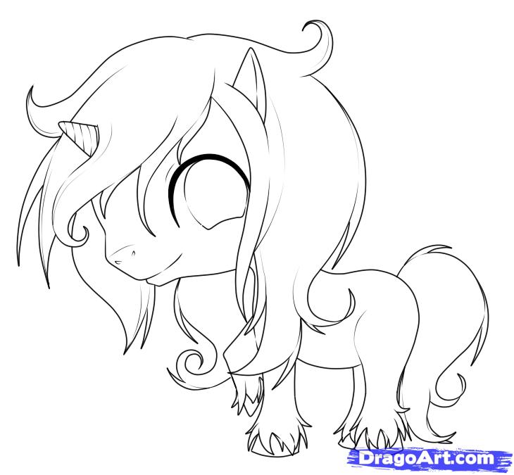 how to draw a cartoon unicorn step by step