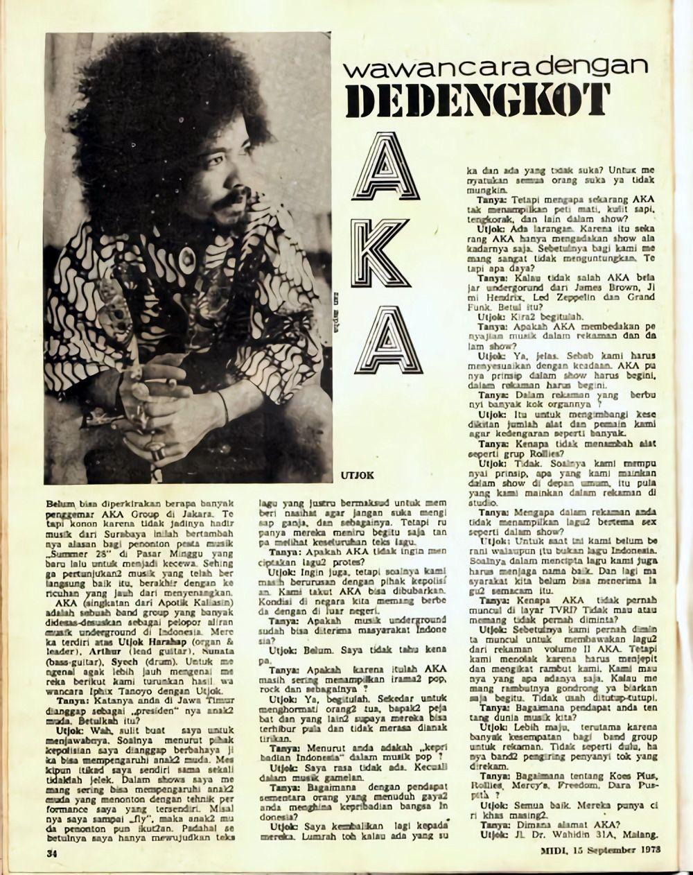 Majalah MIDI edisi 1973 Wawancara, Majalah, Berita