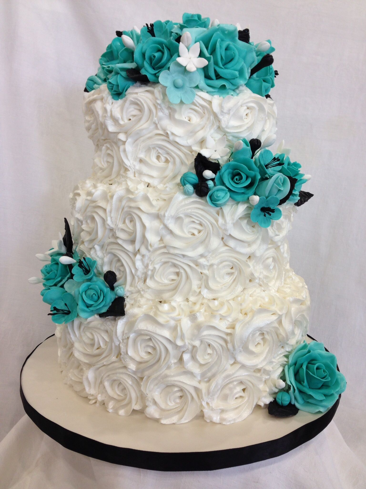 Rosette Cake With Turquoise Roses Cake Is Vanilla W Bc Icing And