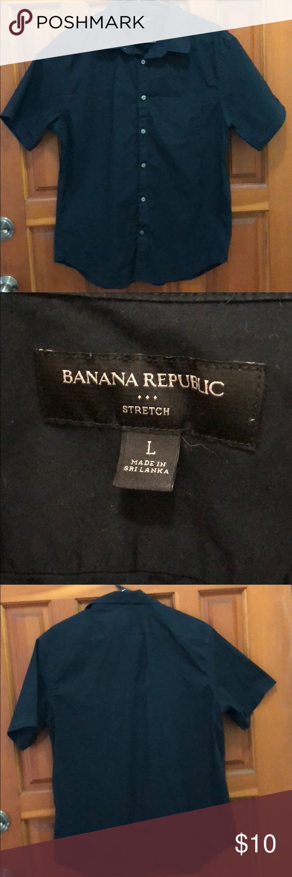 """Black button down shirt L BANANA REPUBLIC plain black button down shirt. Tags say large stretch. To my husband this feels like a medium due to he is not used to wearing shorts with shorter sleeve lengths and has some stretch.  Nice plain black perfect with faded jeans!  Shoulder to shoulder 18.5"""" Armpit to armpit 21"""" Shoulder seam to sleeve hem 9"""" Banana Republic Shirts Casual Button Down Shirts"""