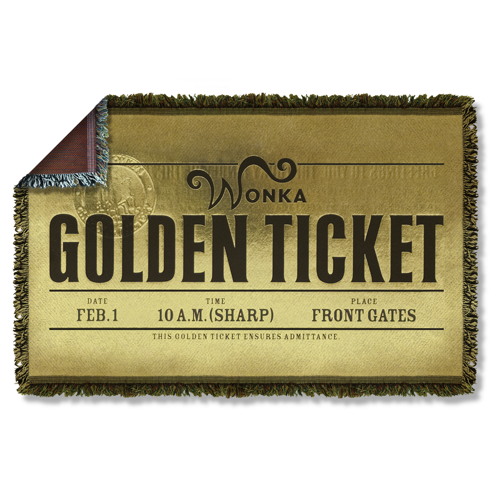Charlie And The Chocolate Factory Golden Ticket Chocolate Factory Charlie Chocolate Factory Woven Throw