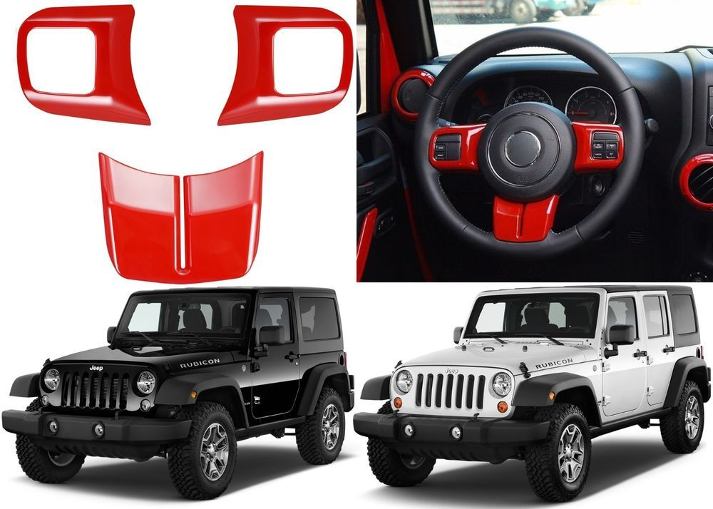 3pc Red Steering Wheel Cover Trim For 2011-2017 Jeep