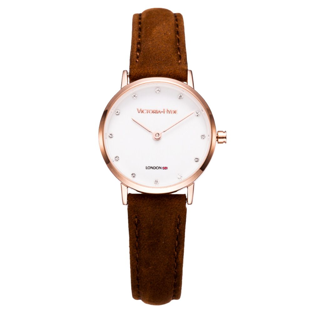 US $51.72 - Top Brand Women Waterproof Strass Watch Coffee Genuine Leather Strap Fashion Causal Dress Business Lady Quartz Wristwatches Gift