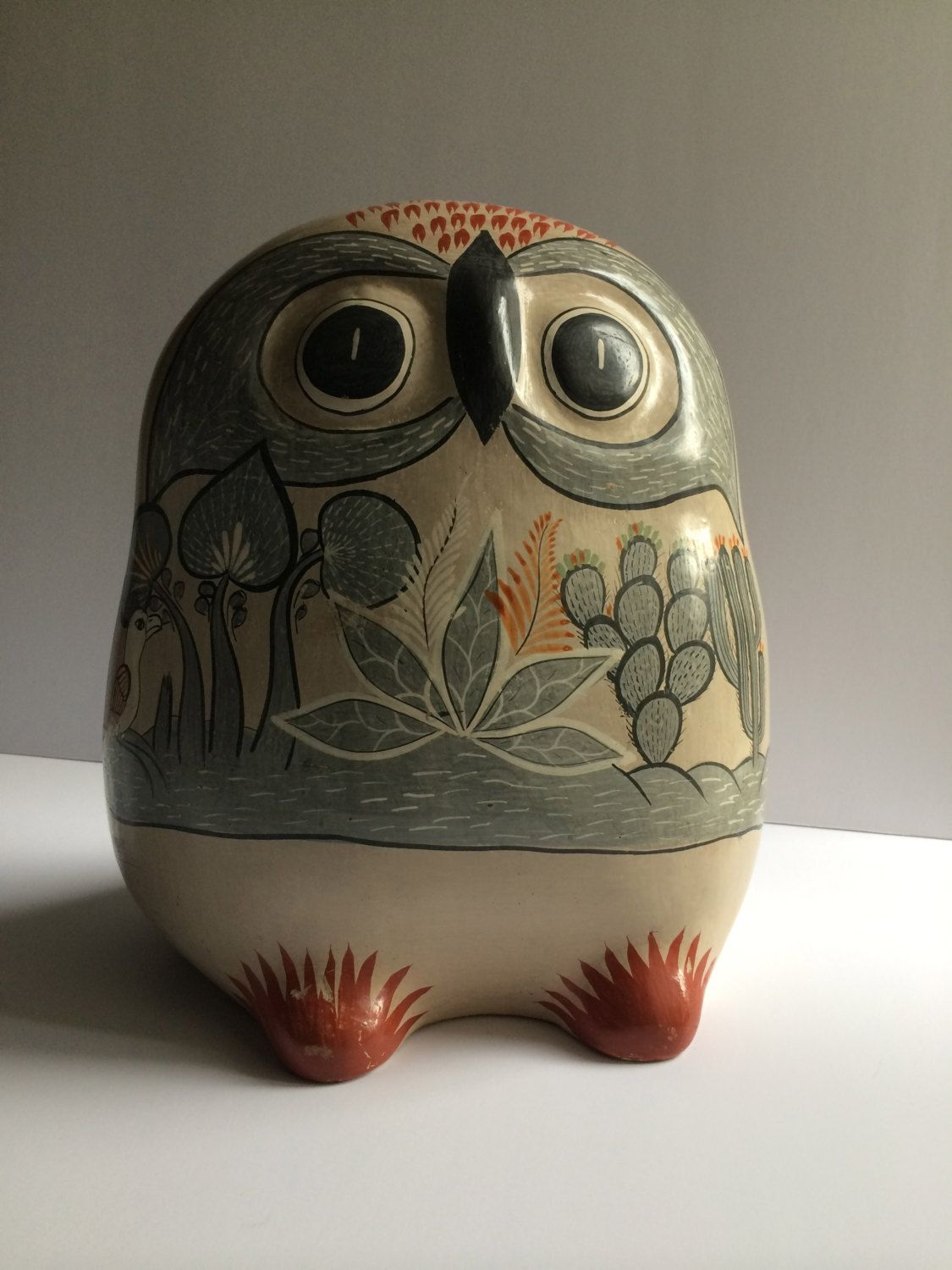 Huge Tonala Mexican Folk Art Owl Signed Navarro By Atomichawks On Etsy Mexican Pottery Mexican Ceramics Mexican Art
