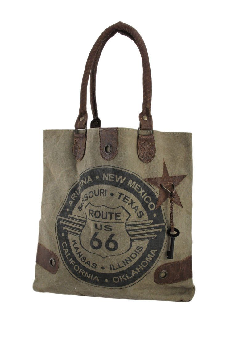 Route 66 Vintage Wash Canvas And Leather Tote Bag