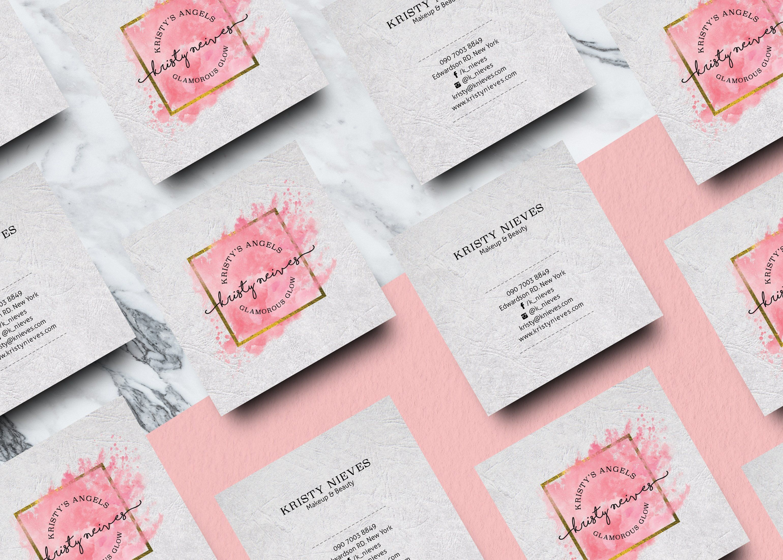 Feminine Square Business Card #Ad , #spon, #logo#Pre#included#editable | Type 1 diabetes