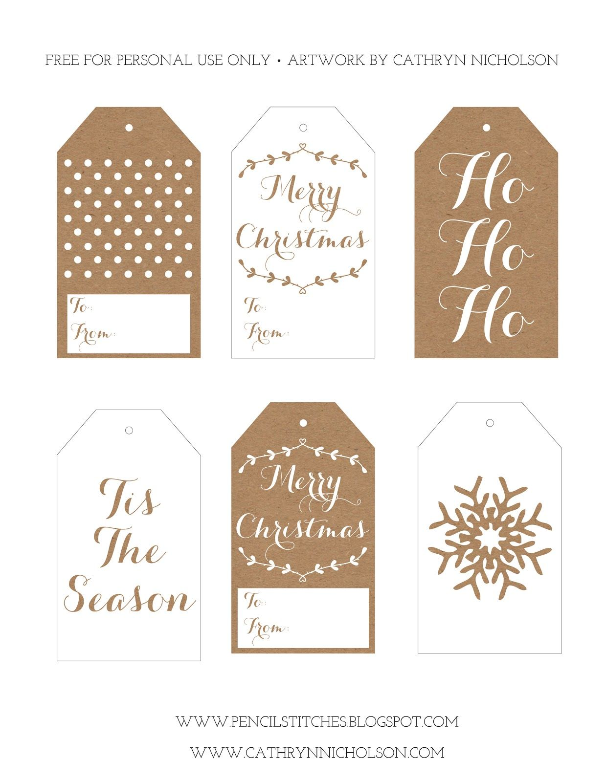 Pencil Stitches: FREE Printable Christmas Gift Tags   Merry ...