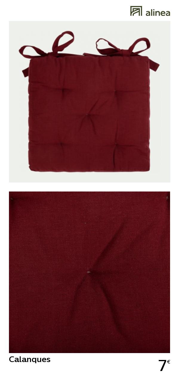 Alinea Calanques Galette De Chaise Rouge Sumac 40x40cm Textile Coussins Et Plaids Galettes Chaises