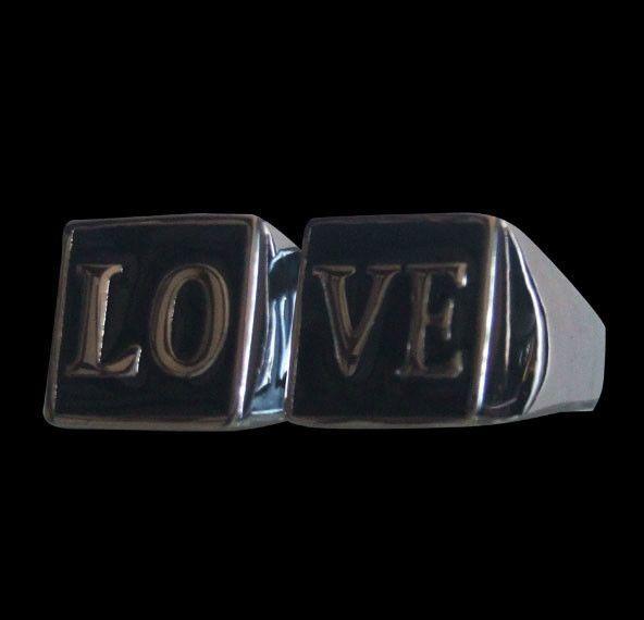 Bronze LOVE Biker Ring Set  - Custom Size - Free Shipping #Handmade #StatementLOVEBikerRingSet