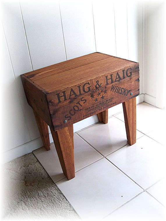 haig and haig whiskey shipping crate table old wooden storage box