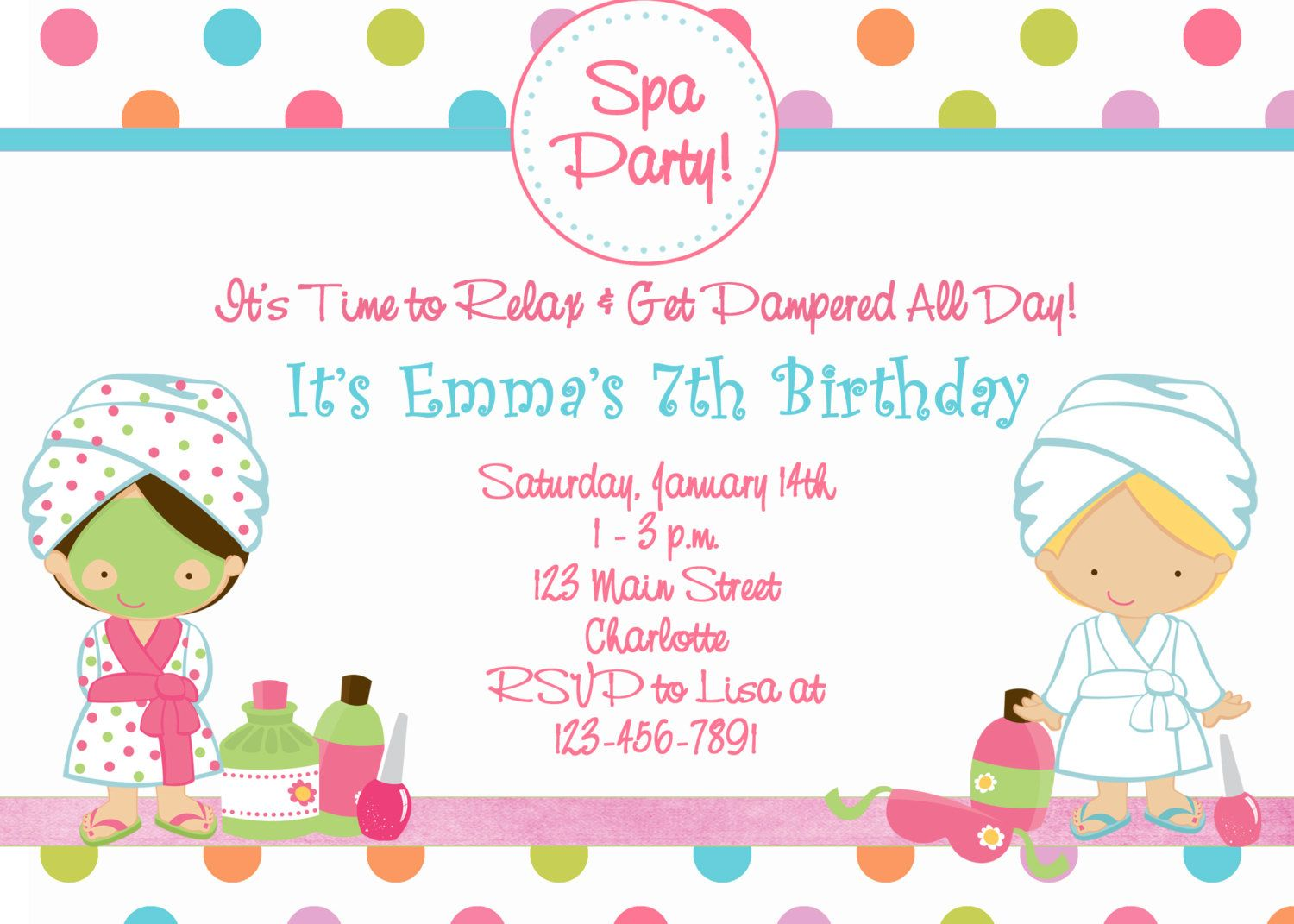 printable spa birthday party invitations spa at home printable spa birthday party invitations