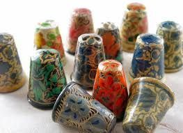 LOT OF 12 HANDPAINTED WOODEN THIMBLES FROM INDIA.